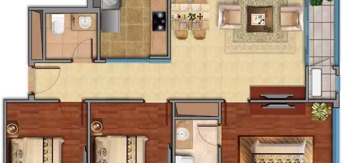 Căn hộ 3 phòng ngủ chung cư Eco Smart City